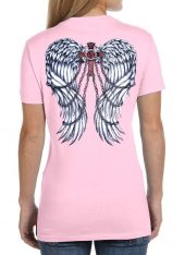 ladies gothic wings pink crew t-shirt