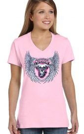 ladies asphalt angel pink v-neck biker t-shirt