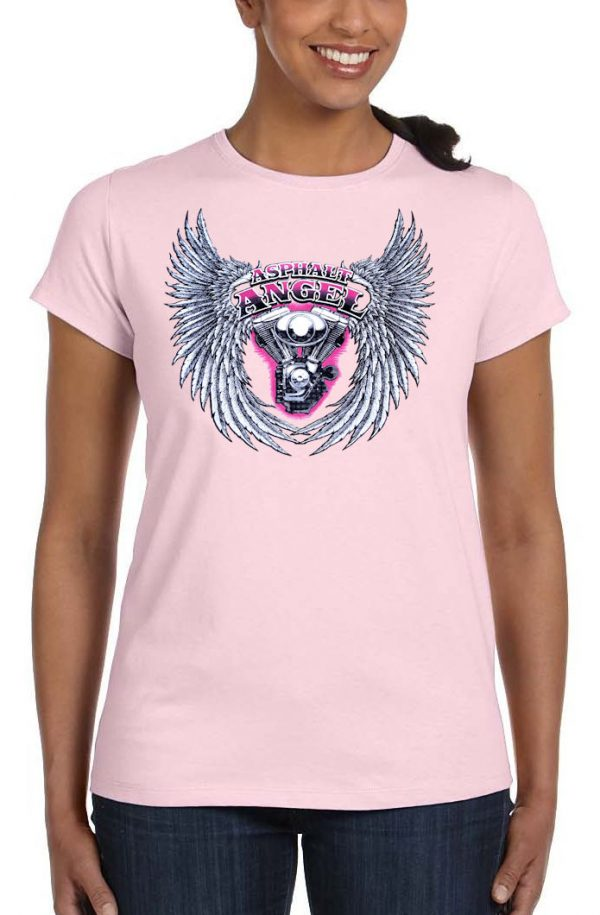 ladies asphalt angel pink crew neck biker t-shirt