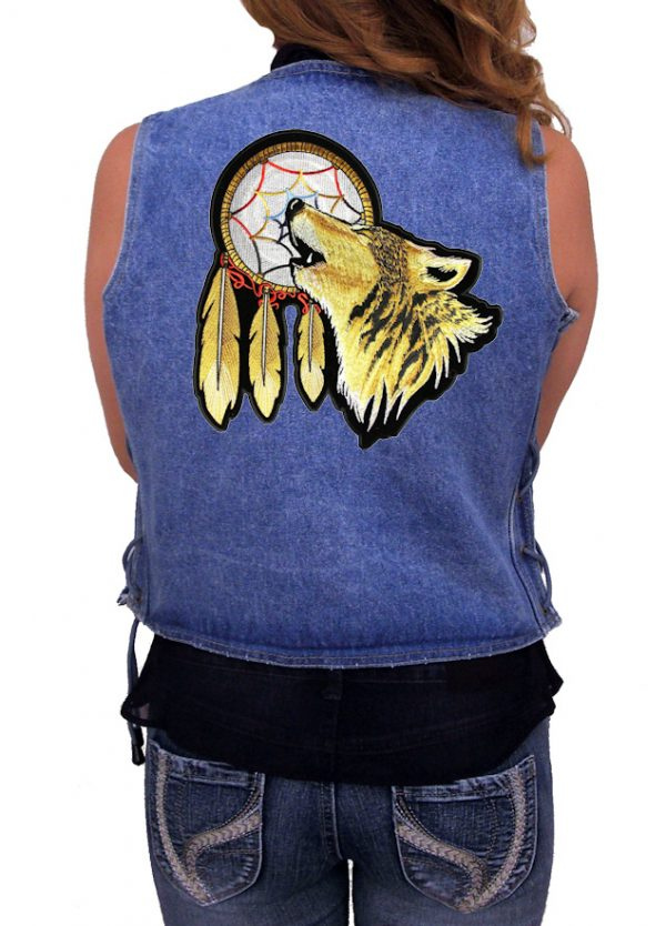 Ladies denim vest with howling wolf patch