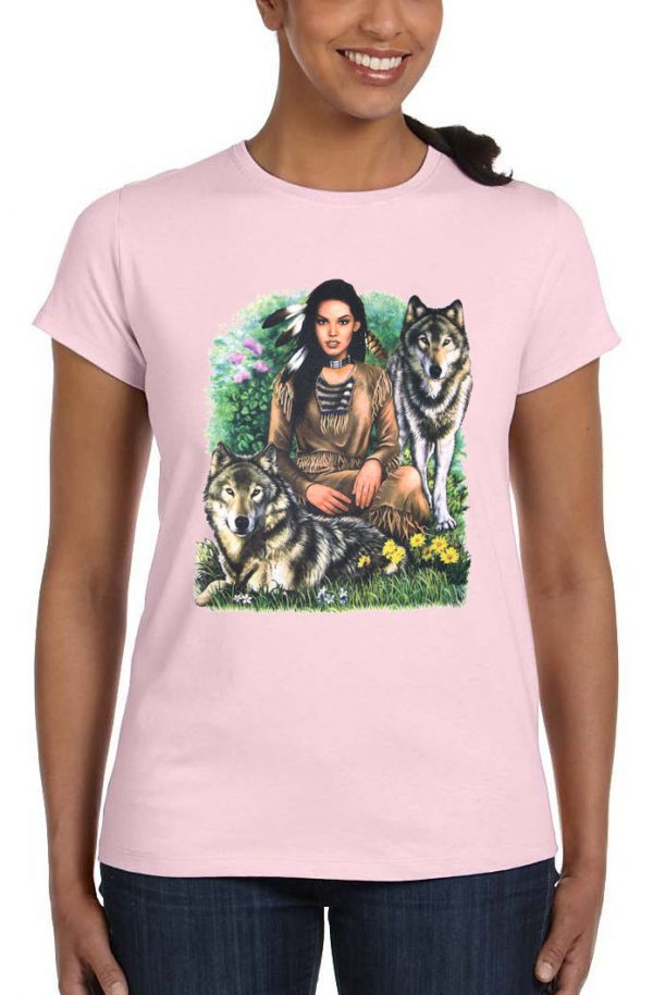 ladies native american girl t-shirt
