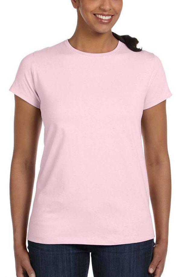 plain ladies pink crew neck