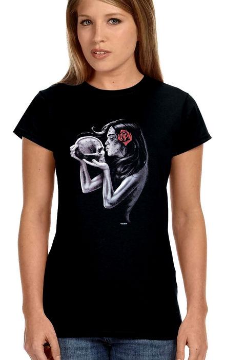 ladies sugar skull with rose biker t-shirt