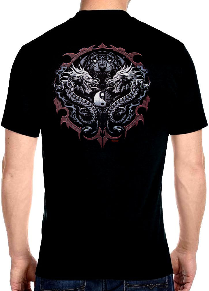 Mens Tiger Head With Dragons And Yin Yang Biker T Shirt