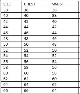 Men's vest sizes chart