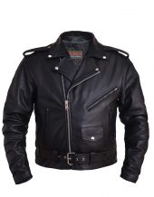 mens traditional leather motorcycle jacket