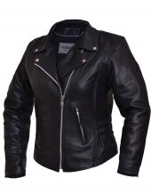 ladies cowhide leather jacket with braid