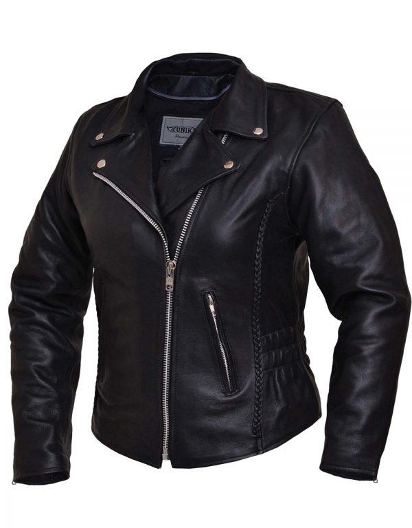 ladies cowhide leather jacket with braid