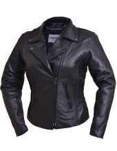 ladies studded leather jacket with braid