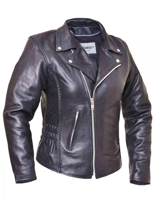 ladies tall leather jacket with braid and studs