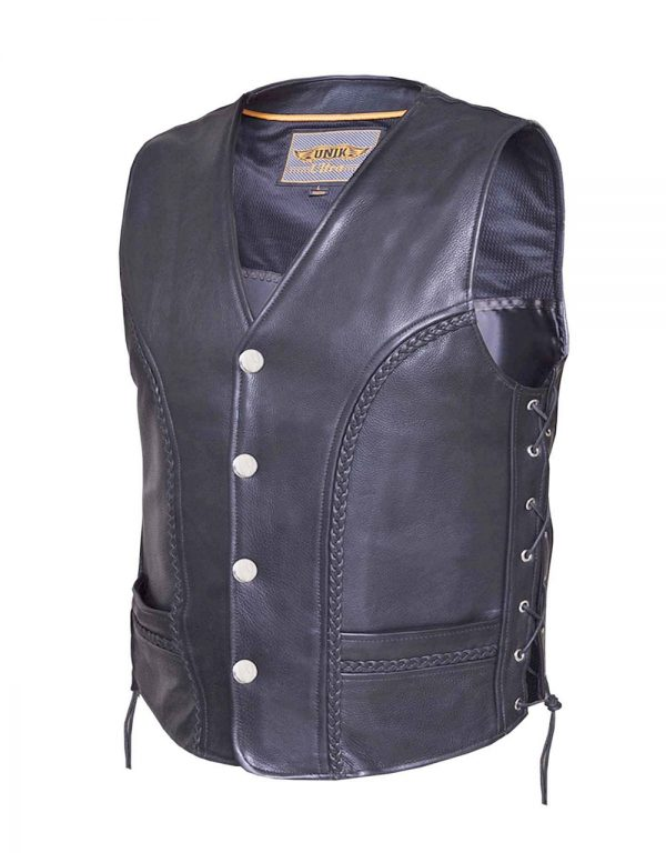 mens drum dyed naked cowhide braided leather vest