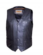 mens naked cowhide leather vest with snap front