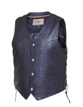mens tall naked cowhide leather vest with snaps