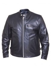 mens classic leather scooter jacket