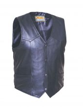 mens premium leather vest with snaps