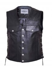 mens premium cowhide leather vest with buffalo nickel snaps