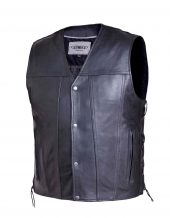mens soft cowhide leather vest with side laces