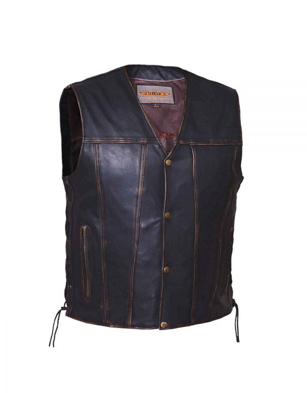mens Colorado brown cowhide leather vest