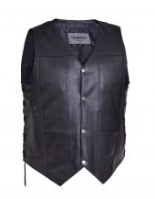 mens premium leather vest with side laces