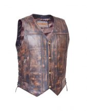 Mens brown leather vest with side laces