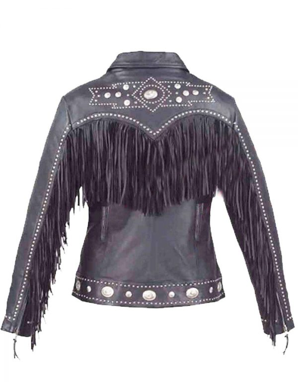 ladies western style cowhide leather jacket