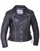 ladies leather jacket with studs