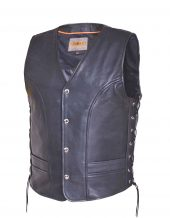mens naked cowhide leather vest with side laces
