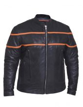 mens orange black leather scooter jacket