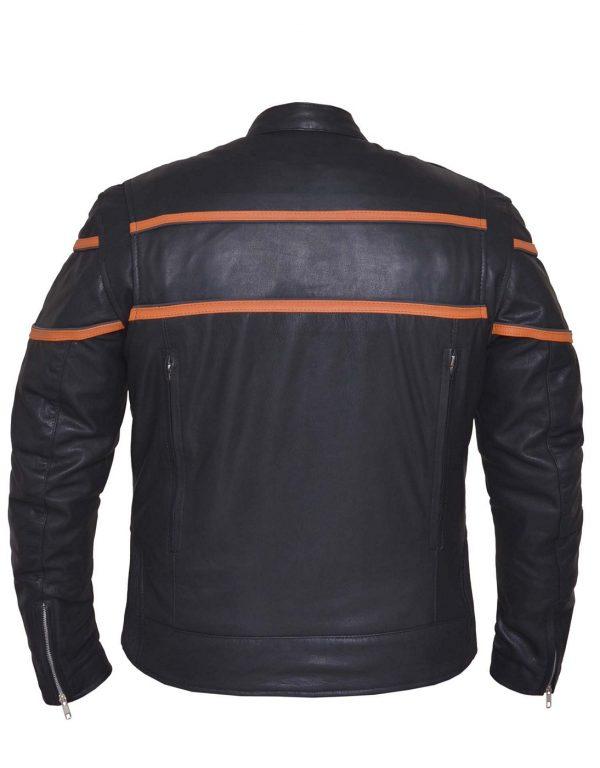 mens orange black leather scooter jacket
