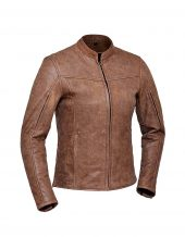 ladies arizona brown premium leather jacket