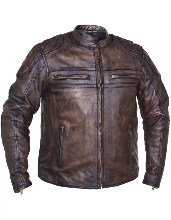 mens brown leather buffalo hide motorcycle jacket