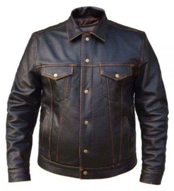 mens colorado brown leather biker shirt