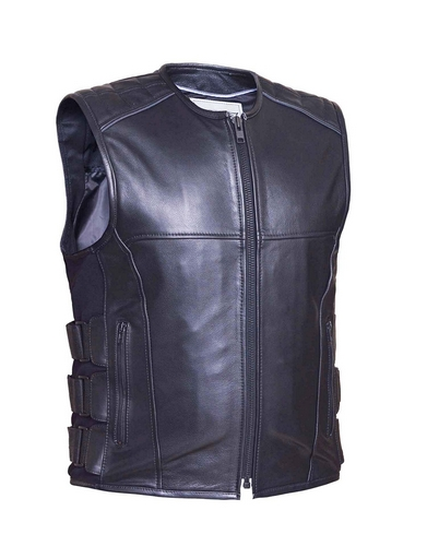 mens premium tactical style soft cowhide leather vest