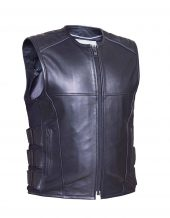 mens soft cowhide tactical leather vest