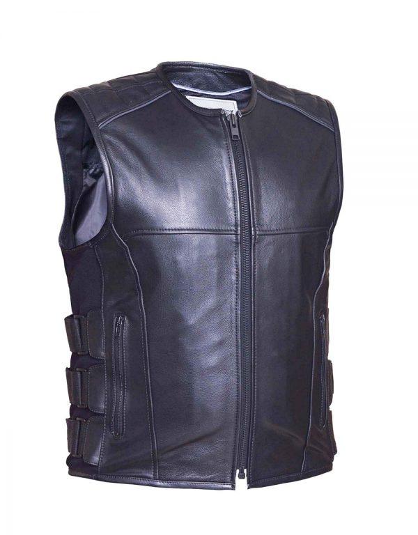 mens soft cowhide tactical leather vest