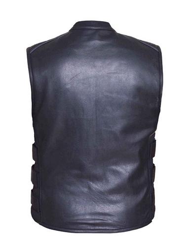 mens premium tactical style soft cowhide leather vest