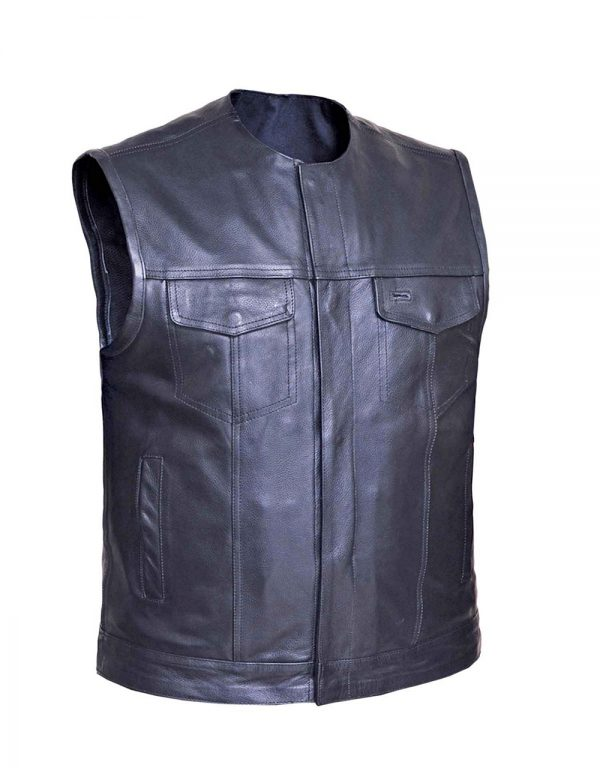 mens cowhide collarless leather vest