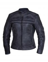 ladies tombstone grey striped premium leather jacket