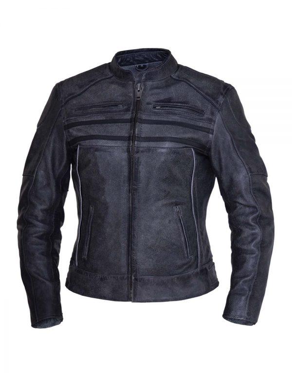 ladies tombstone grey striped premium leather jacket