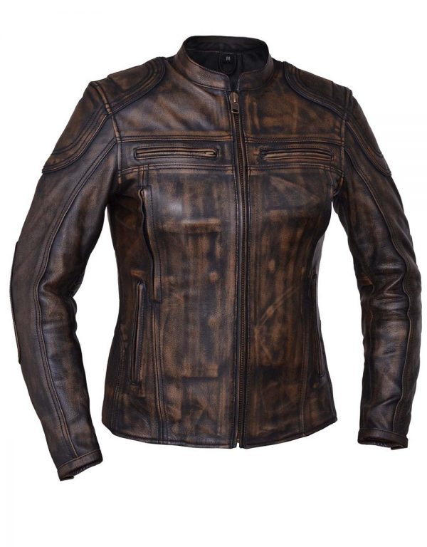 ladies brown naked cowhide leather jacket