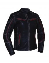 womens black red cowhide leather jacket