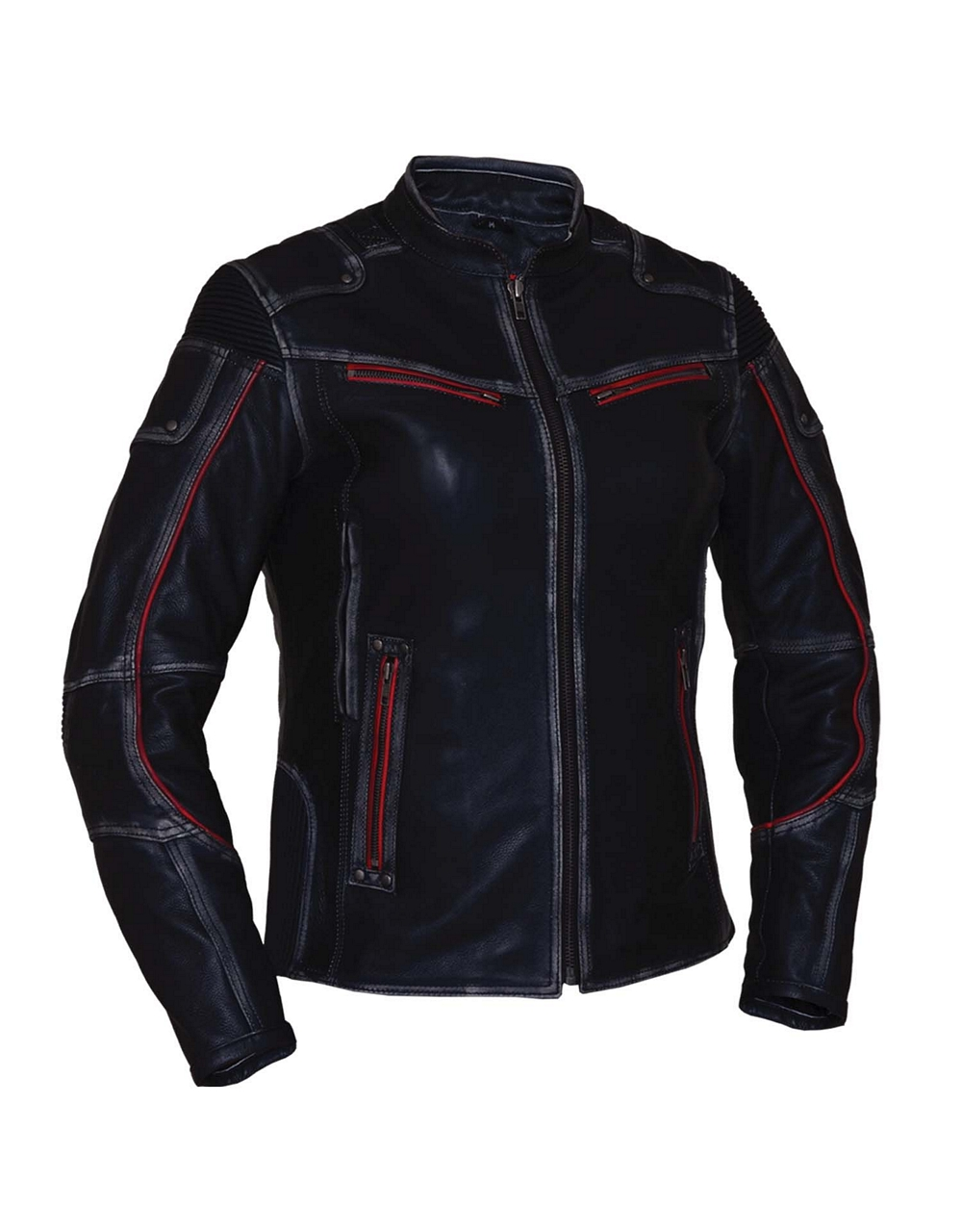 50771fdf2 Womens Drum Dyed Naked Cowhide Leather Durango Motorcycle Jacket WLSJ58