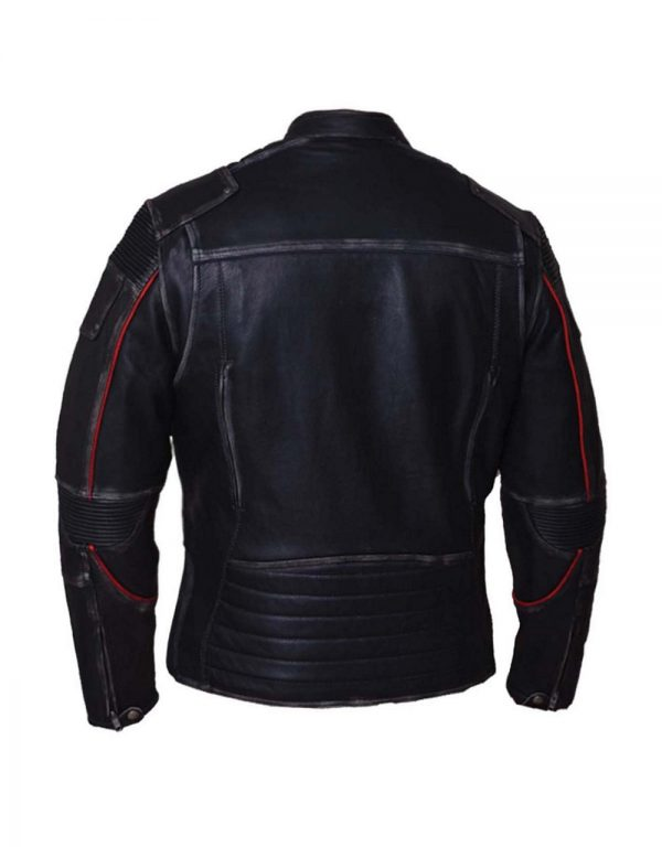 womens black red cowhide durango leather jacket