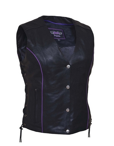 Ladies leather vest with purple wings design