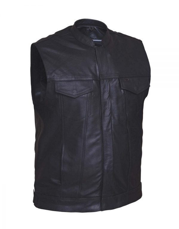 mens classic cowhide leather vest