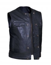mens premium collarless cowhide leather vest