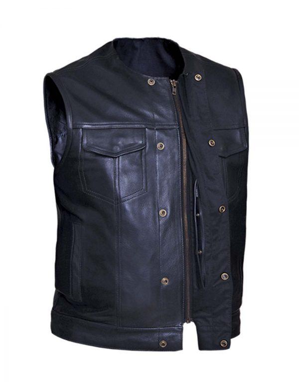 mens premium collarless cowhide leather vest