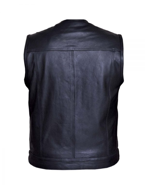 mens collarless cowhide leather vest