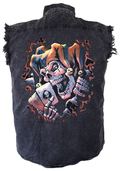 denim cutoff biker shirt with jester design