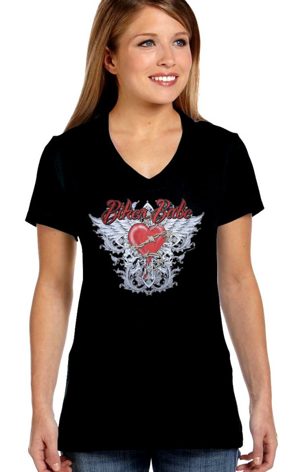 ladies biker babe heart and wings t-shirt